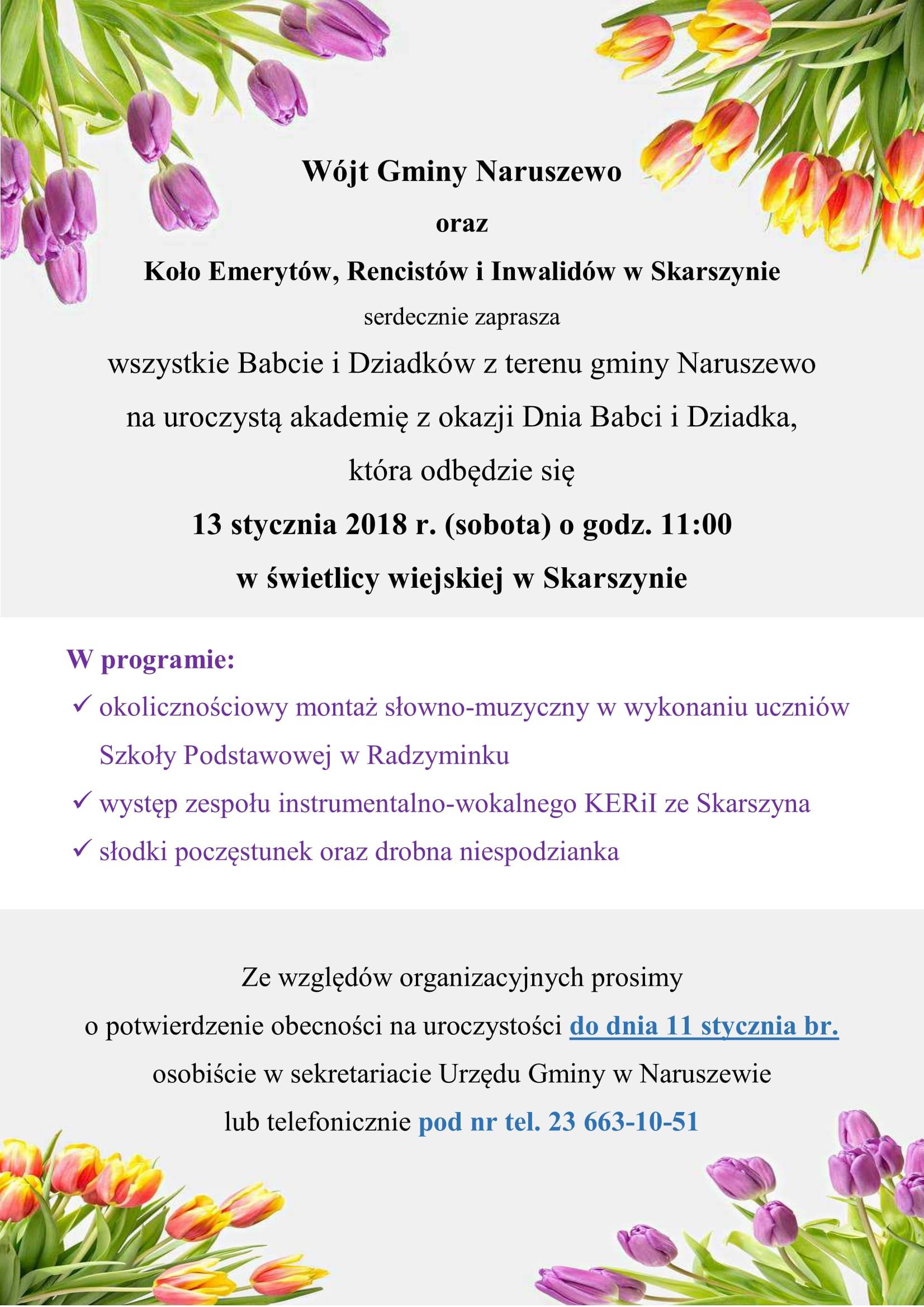 Naruszewo Zaproszenie Na Iii Gminny Dzień Babci I Dziadka W Gminie